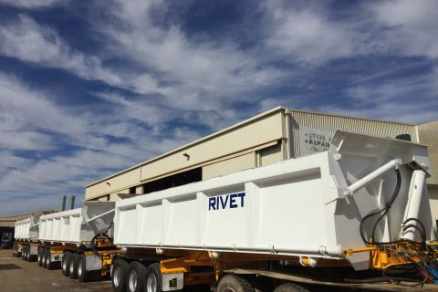 Side tippers after refurbishment, sandblasting and painting