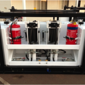 Support equipment for sale: Oil Service Unit incorporating two 220 litre self-bunded tanks with individual diaphragm pumps, retractable hose reels and digital counters