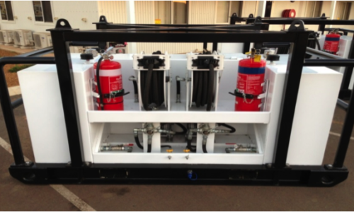 Oil Service Unit incorporating two 220 litre self-bunded tanks with individual diaphragm pumps, retractable hose reels and digital counters
