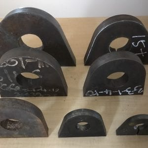 range of sizes for mild steel lifting lugs