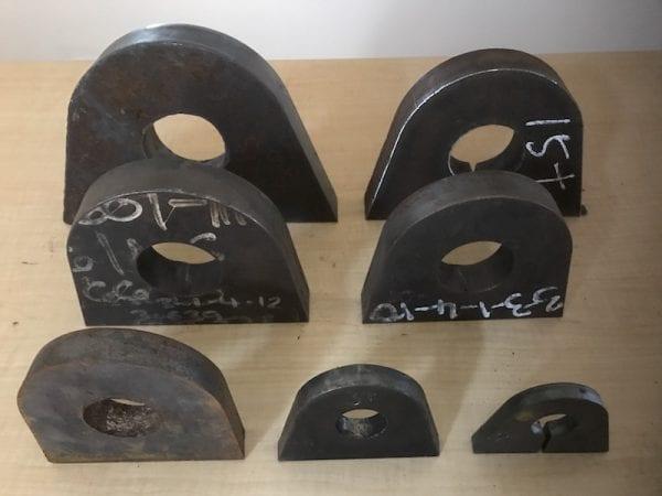 range of sizes for mild steel lifting lugs