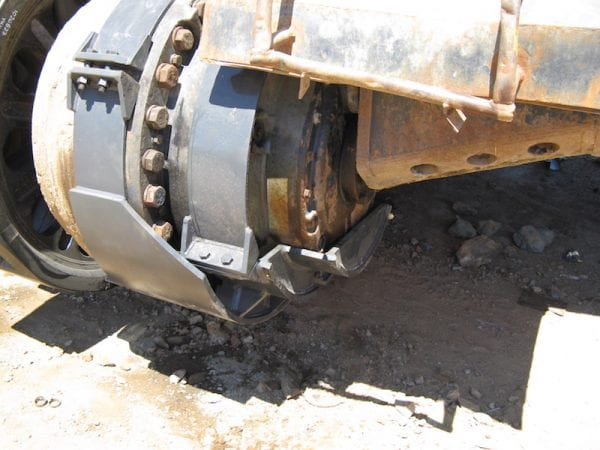 Hitachi excavator final drive covers after fitting