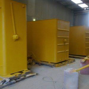 Speedliner protective coating on CAT truck tanks