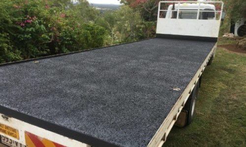 Speedliner protective coating on a truck tray