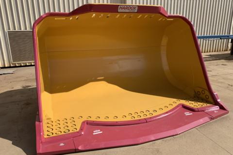 Underground Loader Bucket. Front view to show the smooth interior. Alternative description: Underground mining bucket.