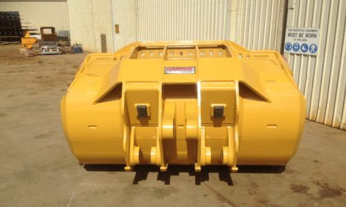 Underground mining buckets - rear view of Outcast bucket showing ears external to shell of the bucket