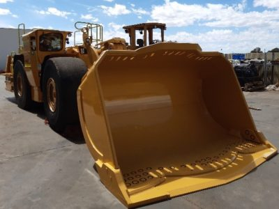 CAT R2900 underground loader with Goldmont designed Outcast bucket attached