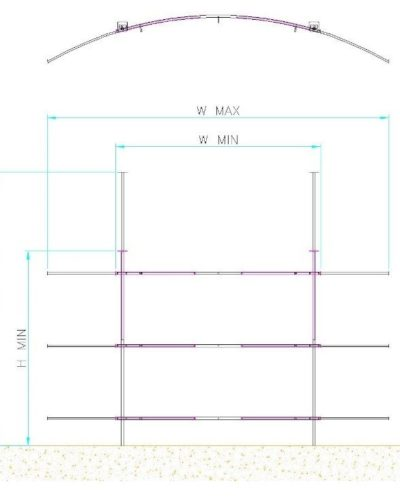 Drawing of radius or curved backfill wall kits showing dimensions to specify when ordering