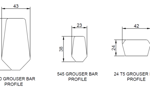 dimensions for three different shapes of grouser bar