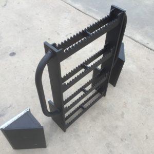 Excavator ladder with rock deflectors for access to excavator