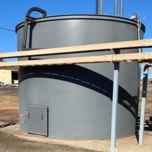 Mine site water tank 12 months after coating with Speedliner